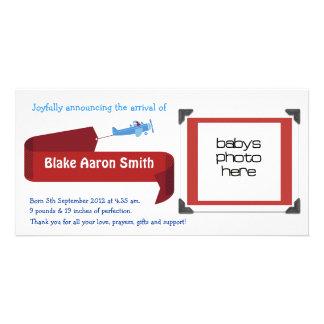 Anúncio customizável do nascimento dos meninos cartão com foto