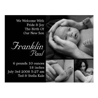 Anúncio customizável do nascimento personalizado cartão postal