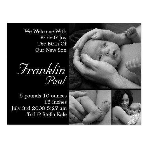 Anúncio customizável do nascimento personalizado cartao postal
