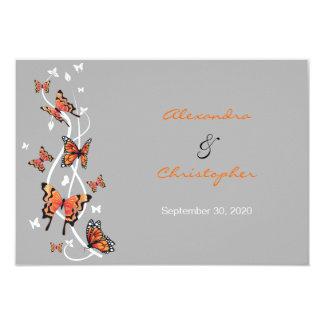 Anúncio da borboleta & do casamento dos convite 8.89 x 12.7cm