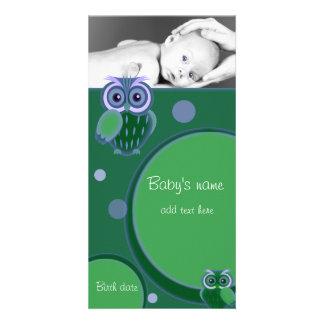 Anúncio da coruja do bebê cartões com foto personalizados