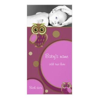 Anúncio da coruja do bebê cartão com foto
