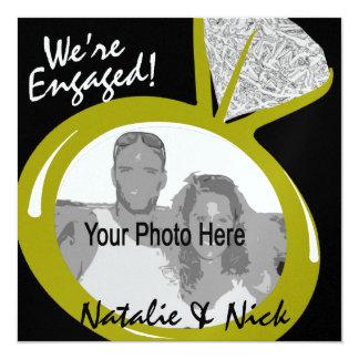 Anúncio da foto do anel de noivado convite quadrado 13.35 x 13.35cm