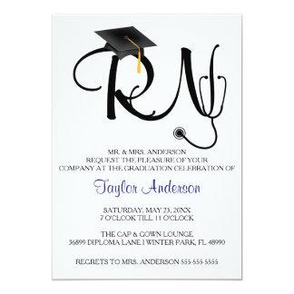 Anúncio da graduação da escola de cuidados do convite 12.7 x 17.78cm