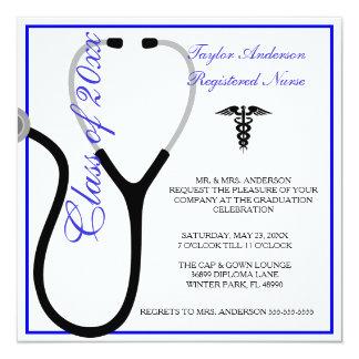 Anúncio da graduação da escola de cuidados do convite quadrado 13.35 x 13.35cm