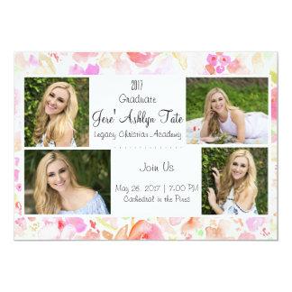 anúncio da graduação da flor da aguarela convite 12.7 x 17.78cm