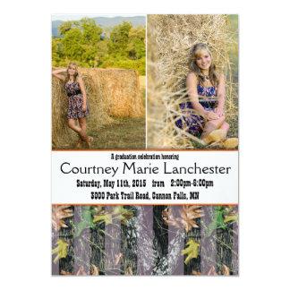 Anúncio da graduação da laranja e da camuflagem convite 12.7 x 17.78cm