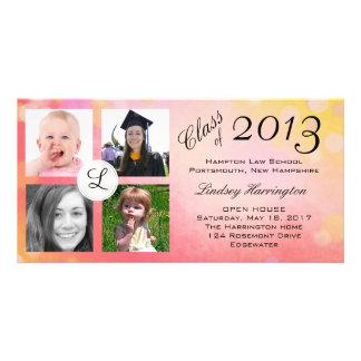 Anúncio da graduação da menina do rosa da colagem cartão com foto