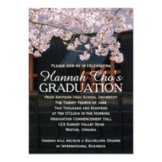 Anúncio da graduação das flores de cerejeira convite 12.7 x 17.78cm