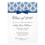 Anúncio da graduação do arco do damasco dos azuis  convites personalizados