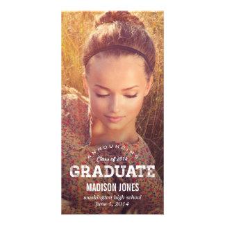 Anúncio da graduação do formando do vintage cartao com foto personalizado