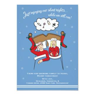 Cartão Anúncio da gravidez do cartão de Natal - louro