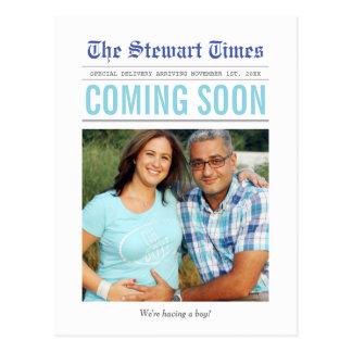 Anúncio da gravidez do jornal | cartão postal
