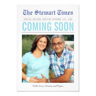 Anúncio da gravidez do jornal | convite 12.7 x 17.78cm