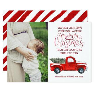 Anúncio da gravidez do Natal - caminhão do vintage