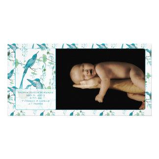 Anúncio da imagem do pássaro de bebê do vintage do cartão com foto