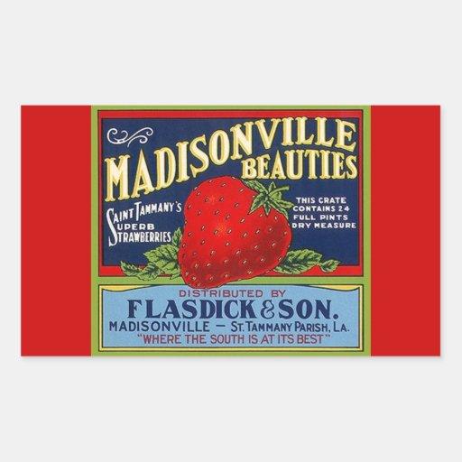Anúncio da morango do LA de Madisonville do Adesivos Em Forma Retangular