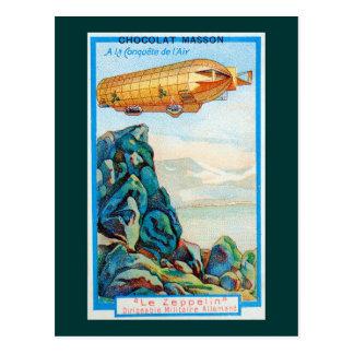 Anúncio de Chocolat Masson com dirigível do Cartão Postal
