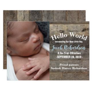 anúncio de madeira do nascimento do bebê do país