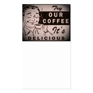 Anúncio delicioso retro do café cartão de visita