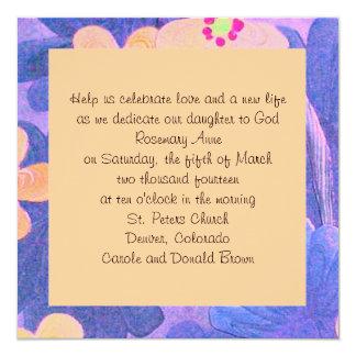 anúncio do baptismo convite quadrado 13.35 x 13.35cm
