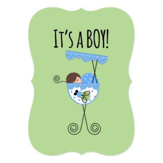 Anúncio do bebé azul e verde