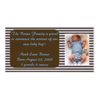 Anúncio do bebé - Brown e azul Cartão Com Foto