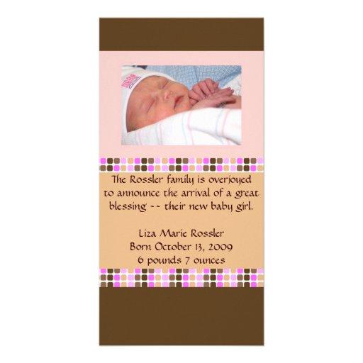Anúncio do bebé cartoes com fotos personalizados
