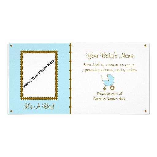 Anúncio do bebé cartão com fotos personalizado