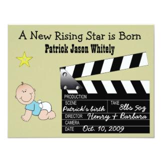 Anúncio do bebê da estrela de cinema do menino convite 10.79 x 13.97cm