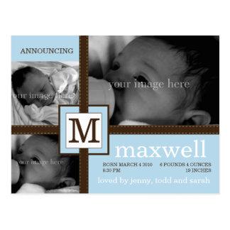 Anúncio do bebê da fita de Brown Cartões Postais