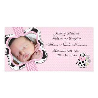 Anúncio do bebê da vaqueira com impressão de cartao com foto personalizado