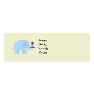 Anúncio do bebê do elefante cartão de visita skinny