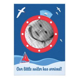 Anúncio do bebê do marinheiro convite personalizado