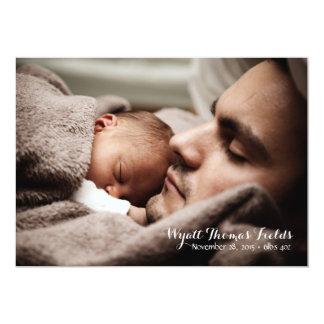 Anúncio do bebê no roteiro branco simples convite 12.7 x 17.78cm