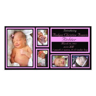 Anúncio do bebê - rosa cartao com fotos