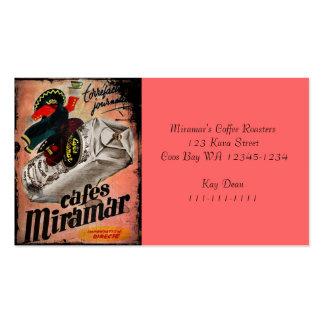 Anúncio do café do vintage para Miramar Cartão De Visita