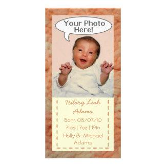 Anúncio do cartão com fotos da cobertura do bebê