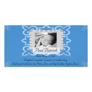Anúncio do cartão com fotos do bebé