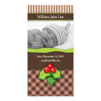 Anúncio do cartão com fotos do bebê da xadrez do N Cartão Com Foto