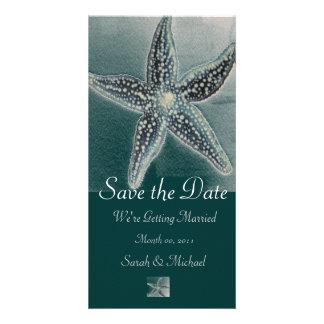 Anúncio do casamento da estrela do mar cartão com foto