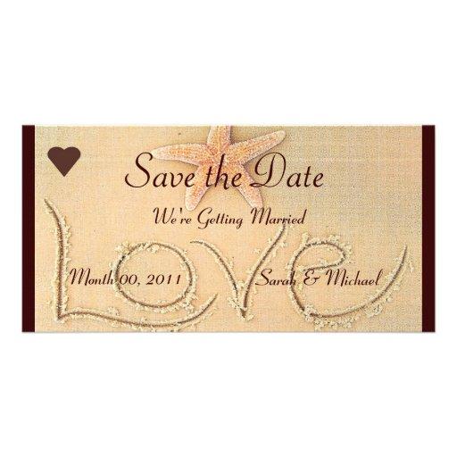 Anúncio do casamento do amor da praia cartão com fotos personalizado