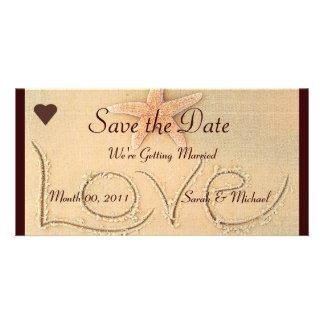 Anúncio do casamento do amor da praia cartao com foto personalizado