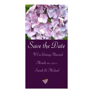 Anúncio do casamento do Hydrangea Cartão Com Fotos Personalizado