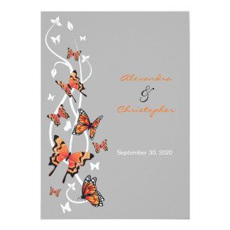 Anúncio do convite do casamento da borboleta