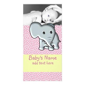 Anúncio do elefante do bebê cartão com foto