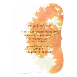 Anúncio do Elopement das folhas de bordo Convite 12.7 X 17.78cm