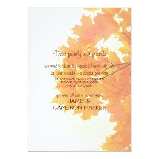 Anúncio do Elopement das folhas de bordo do outono Convite 12.7 X 17.78cm
