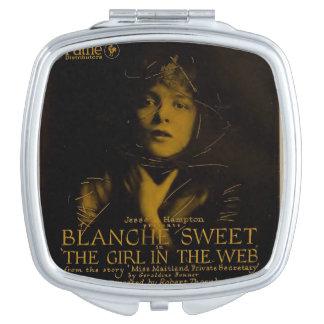 Anúncio do expositor do filme silencioso do doce espelho compacto