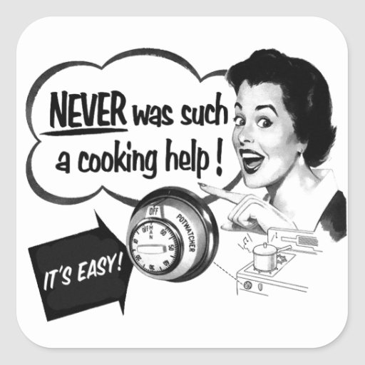 Anúncio do fogão da dona de casa do kitsch do adesivo quadrado
